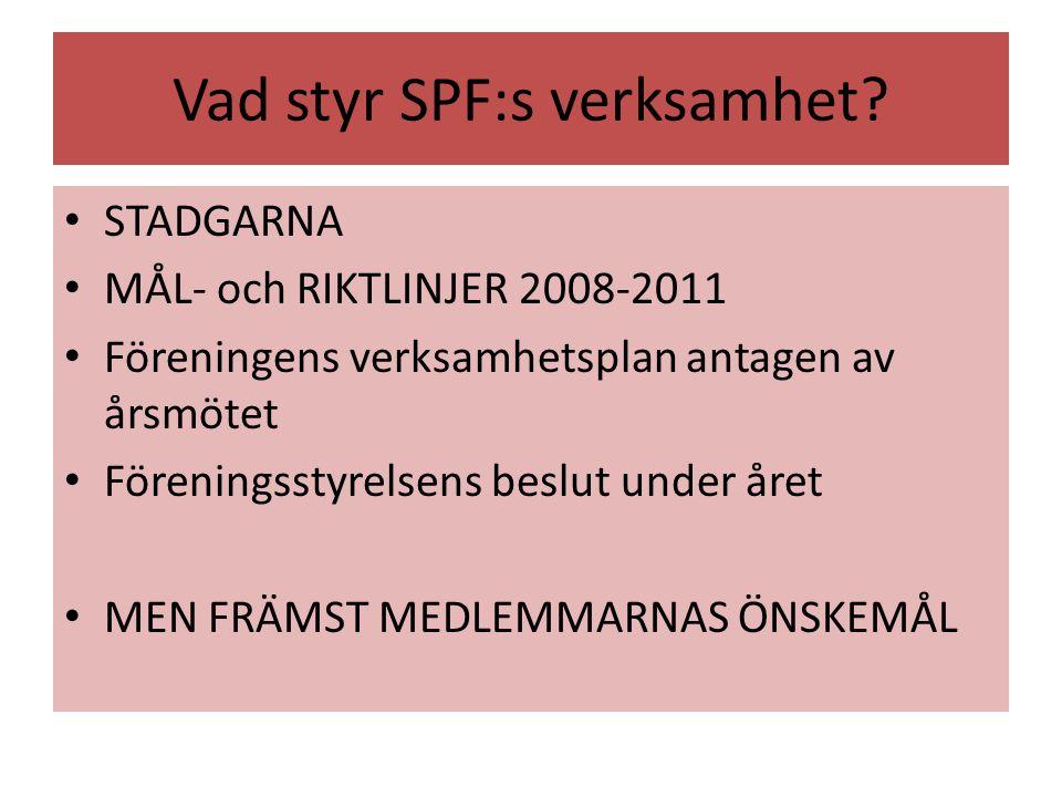 Vad styr SPF:s verksamhet
