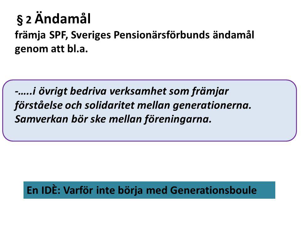 främja SPF, Sveriges Pensionärsförbunds ändamål genom att bl.a.