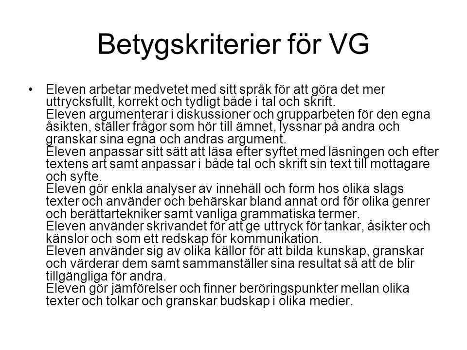Betygskriterier för VG