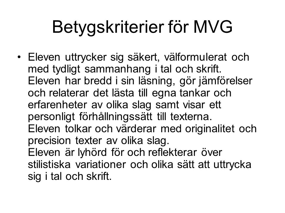 Betygskriterier för MVG