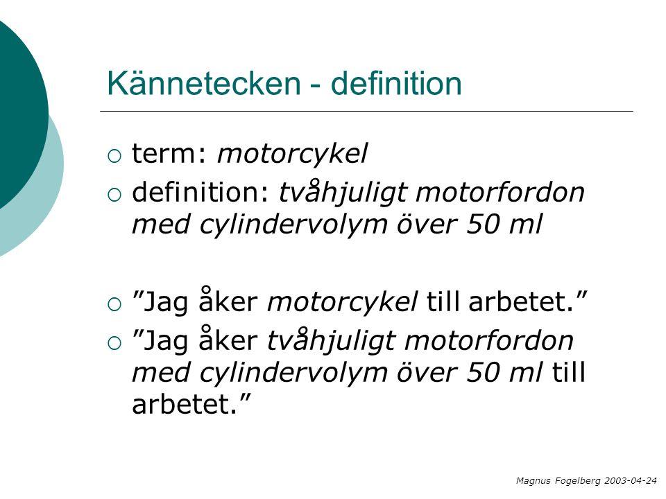 Kännetecken - definition