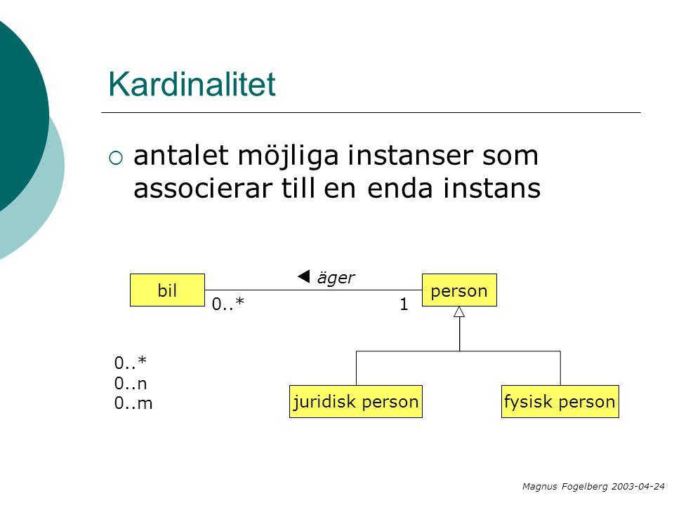 Kardinalitet antalet möjliga instanser som associerar till en enda instans. äger. t. bil. person.