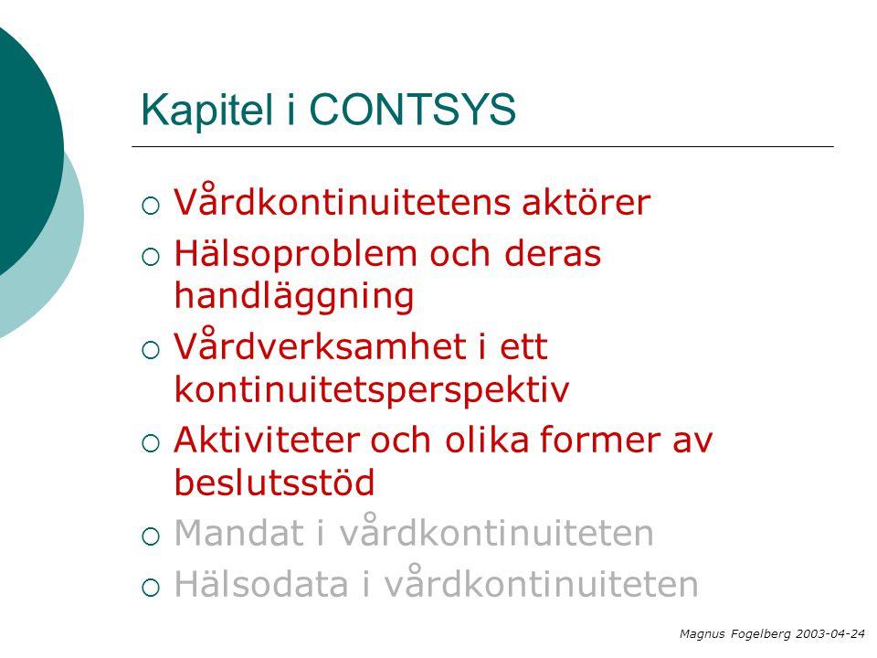 Kapitel i CONTSYS Vårdkontinuitetens aktörer