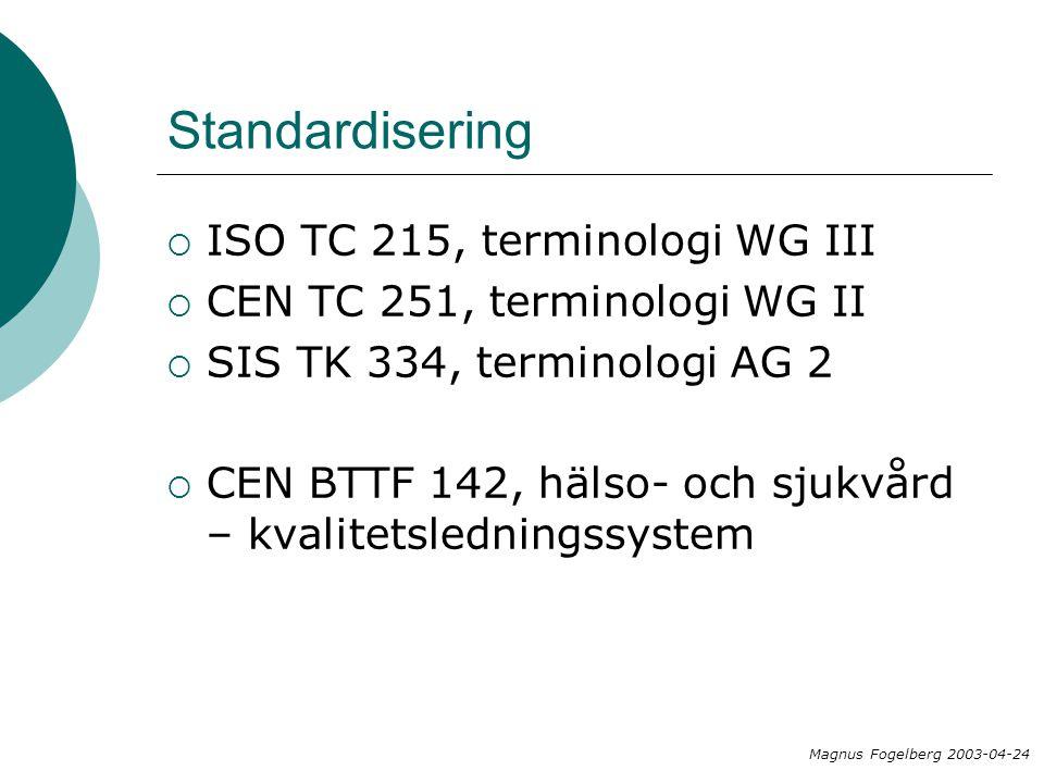 Standardisering ISO TC 215, terminologi WG III