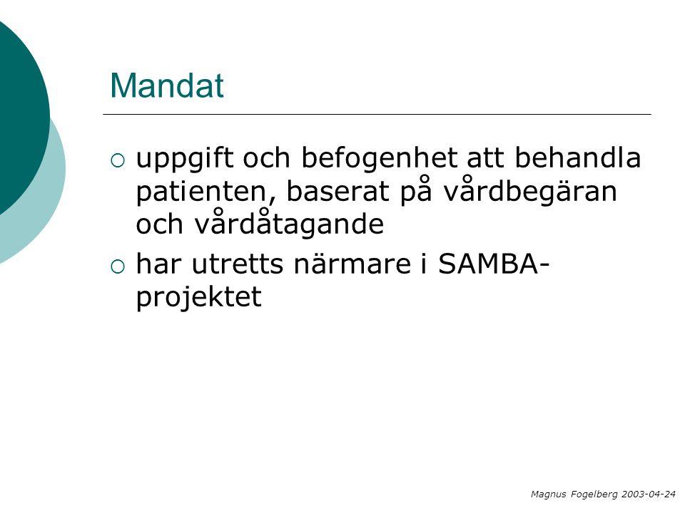 Mandat uppgift och befogenhet att behandla patienten, baserat på vårdbegäran och vårdåtagande. har utretts närmare i SAMBA-projektet.