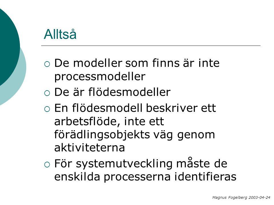 Alltså De modeller som finns är inte processmodeller
