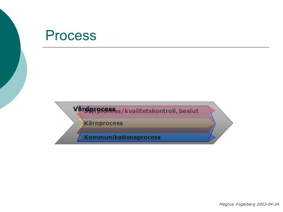 Process Vårdprocess Styrprocess/kvalitetskontroll, beslut Kärnprocess