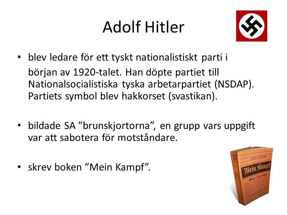 Adolf Hitler blev ledare för ett tyskt nationalistiskt parti i
