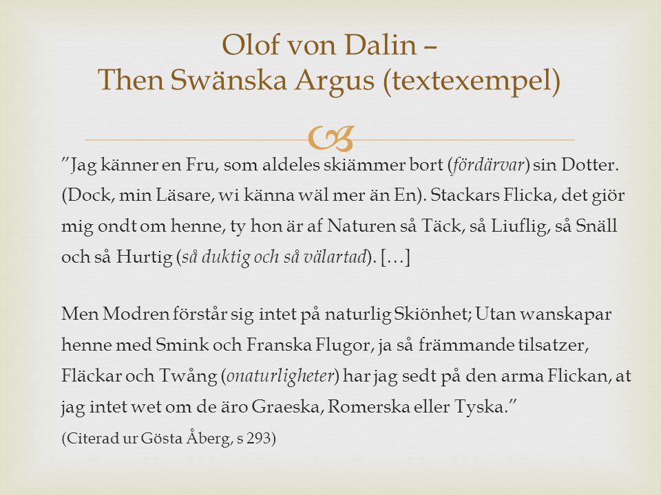 Olof von Dalin – Then Swänska Argus (textexempel)
