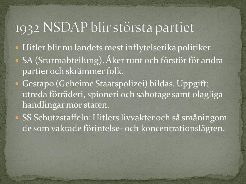 1932 NSDAP blir största partiet