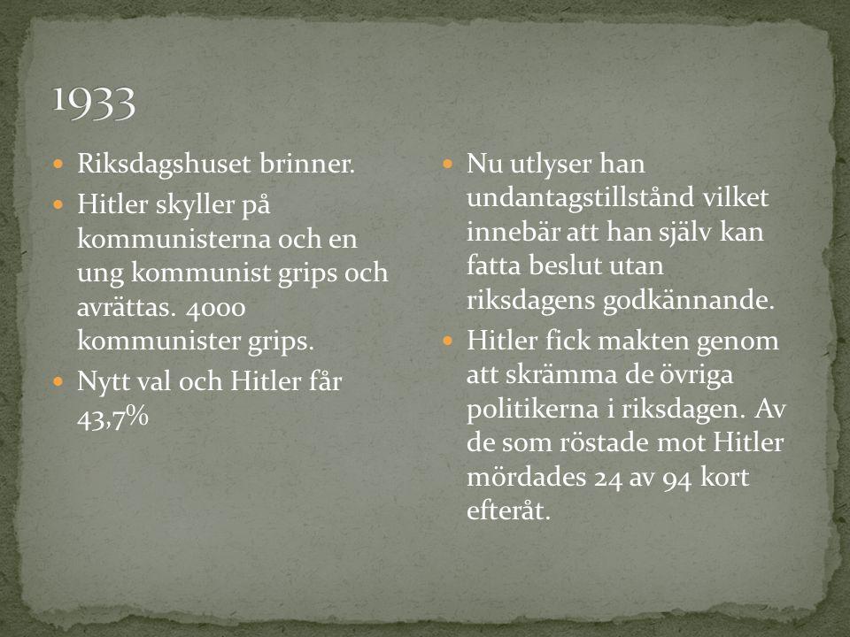 1933 Riksdagshuset brinner.