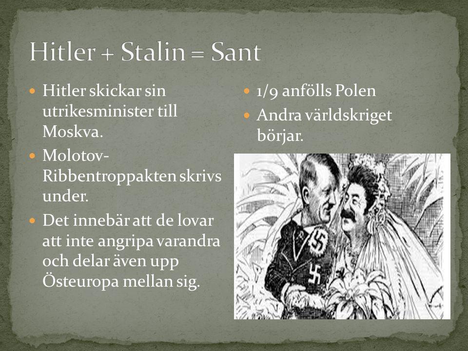 Hitler + Stalin = Sant Hitler skickar sin utrikesminister till Moskva.