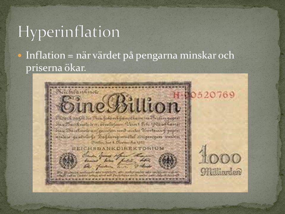 Hyperinflation Inflation = när värdet på pengarna minskar och priserna ökar.