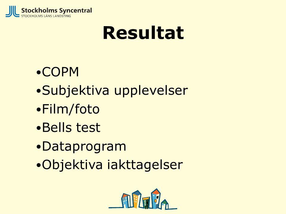 Resultat COPM Subjektiva upplevelser Film/foto Bells test Dataprogram
