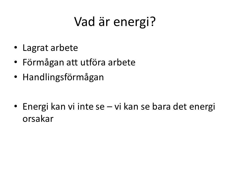 Vad är energi Lagrat arbete Förmågan att utföra arbete