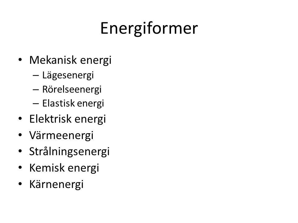Energiformer Mekanisk energi Elektrisk energi Värmeenergi