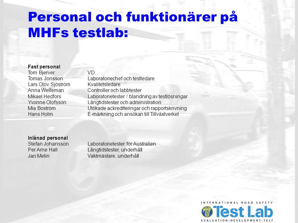 Personal och funktionärer på MHFs testlab: