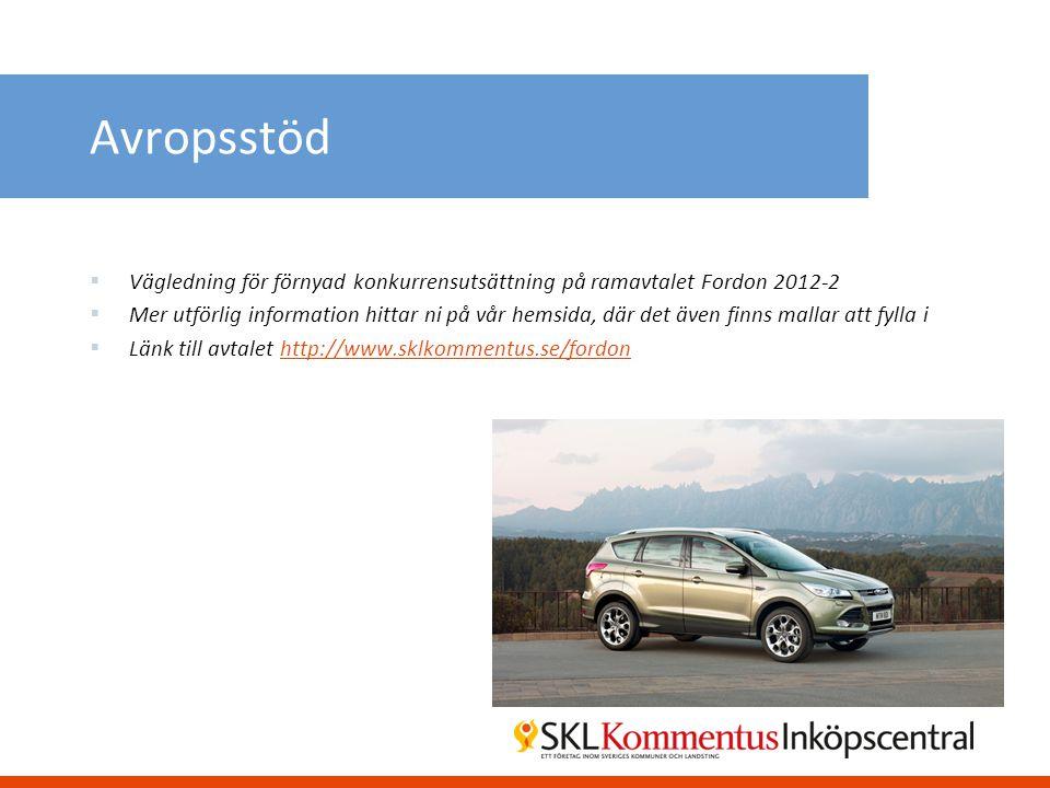 Avropsstöd Vägledning för förnyad konkurrensutsättning på ramavtalet Fordon 2012-2.