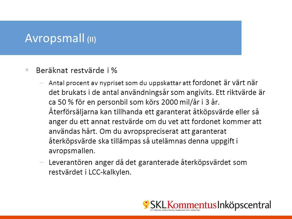 Avropsmall (II) Beräknat restvärde i %