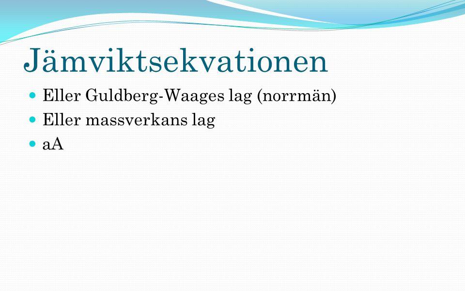 Jämviktsekvationen Eller Guldberg-Waages lag (norrmän)