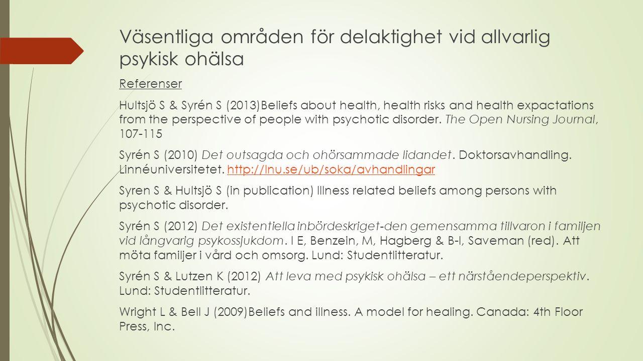 Väsentliga områden för delaktighet vid allvarlig psykisk ohälsa