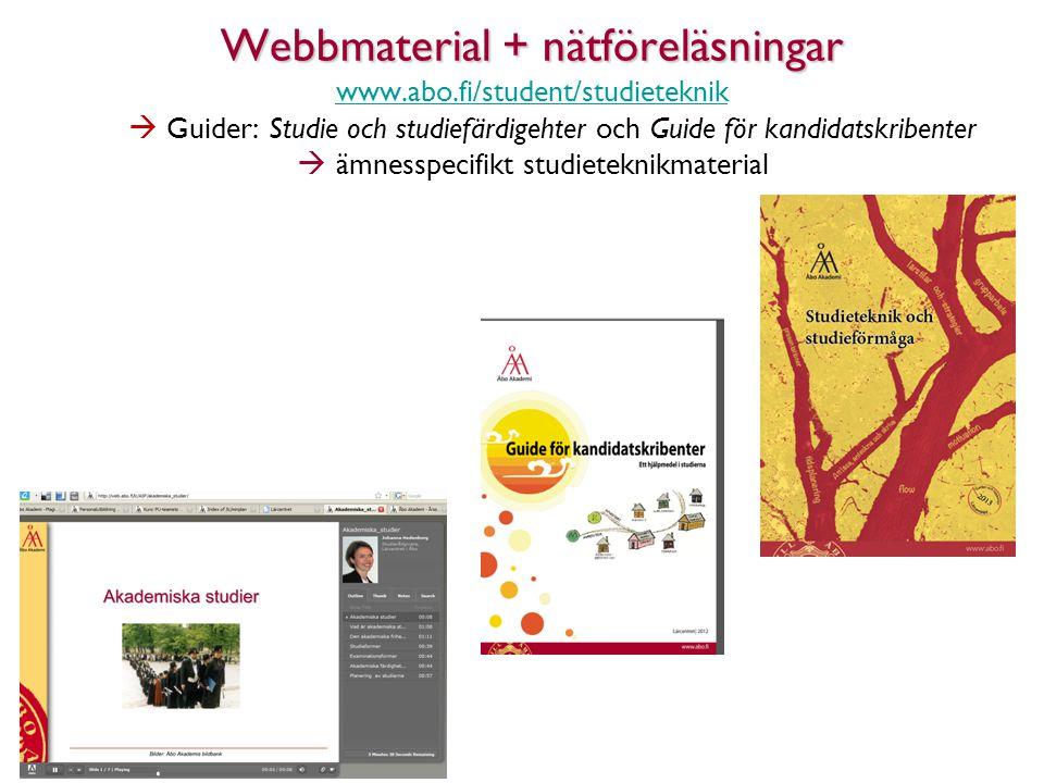Webbmaterial + nätföreläsningar