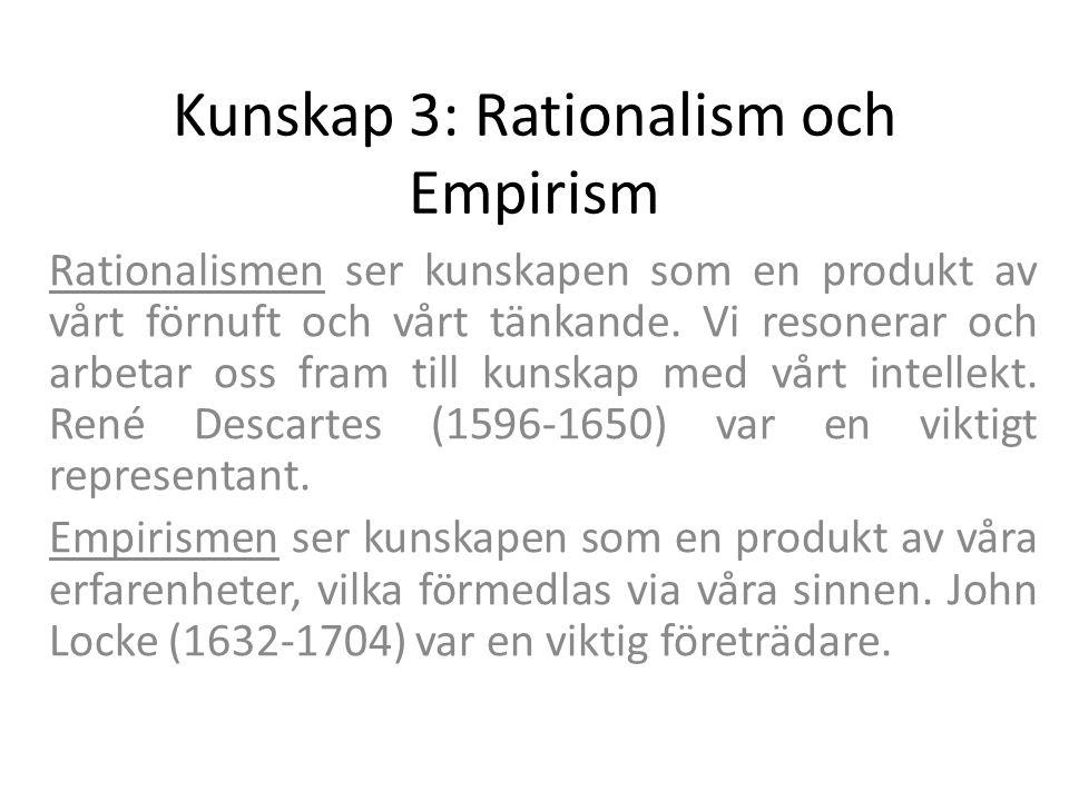 Kunskap 3: Rationalism och Empirism