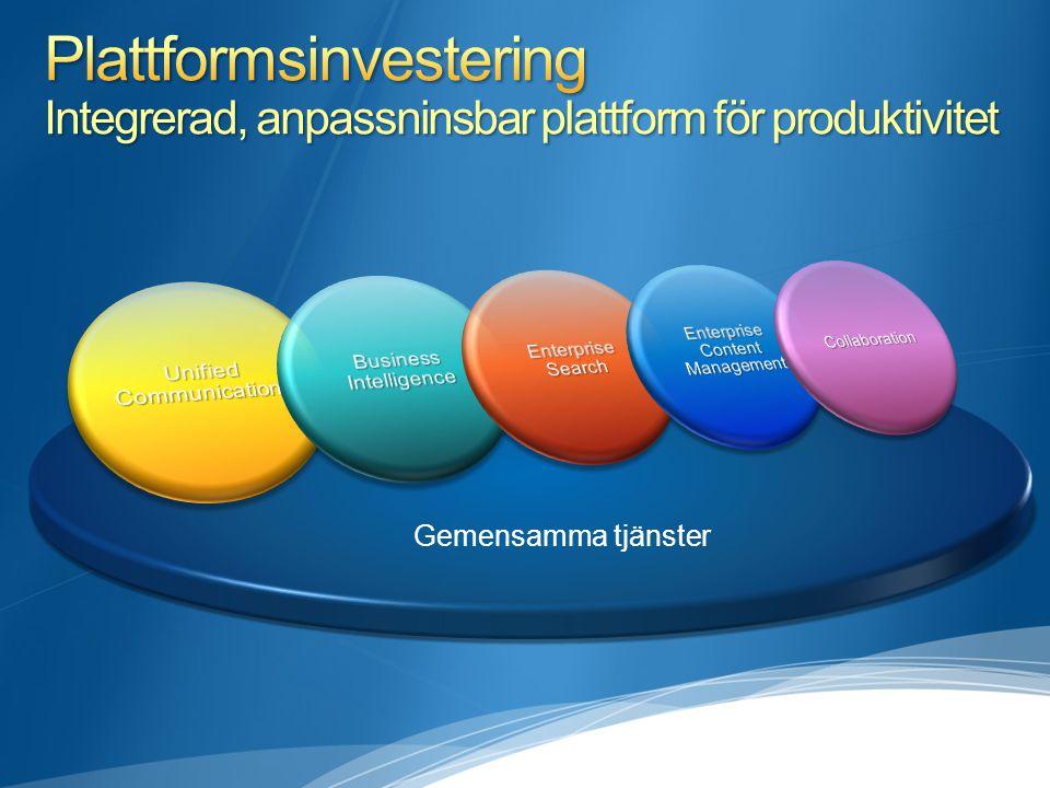 Plattformsinvestering Integrerad, anpassninsbar plattform för produktivitet