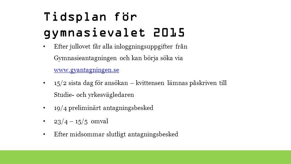 Tidsplan för gymnasievalet 2015