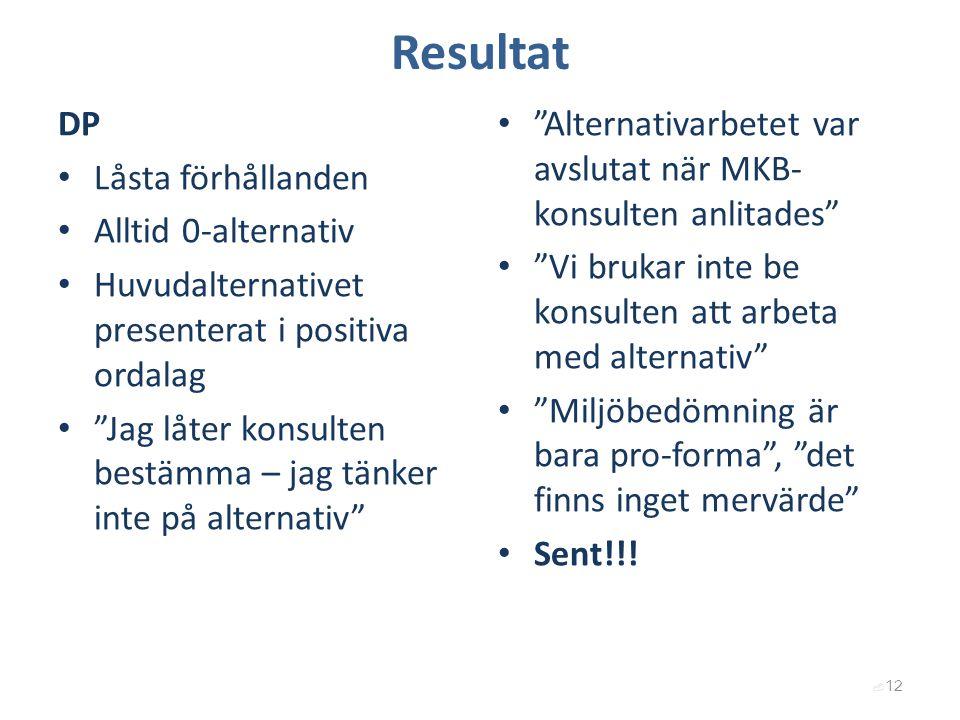 Resultat DP Låsta förhållanden Alltid 0-alternativ