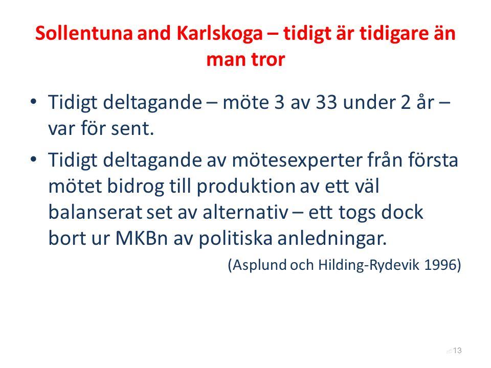 Sollentuna and Karlskoga – tidigt är tidigare än man tror