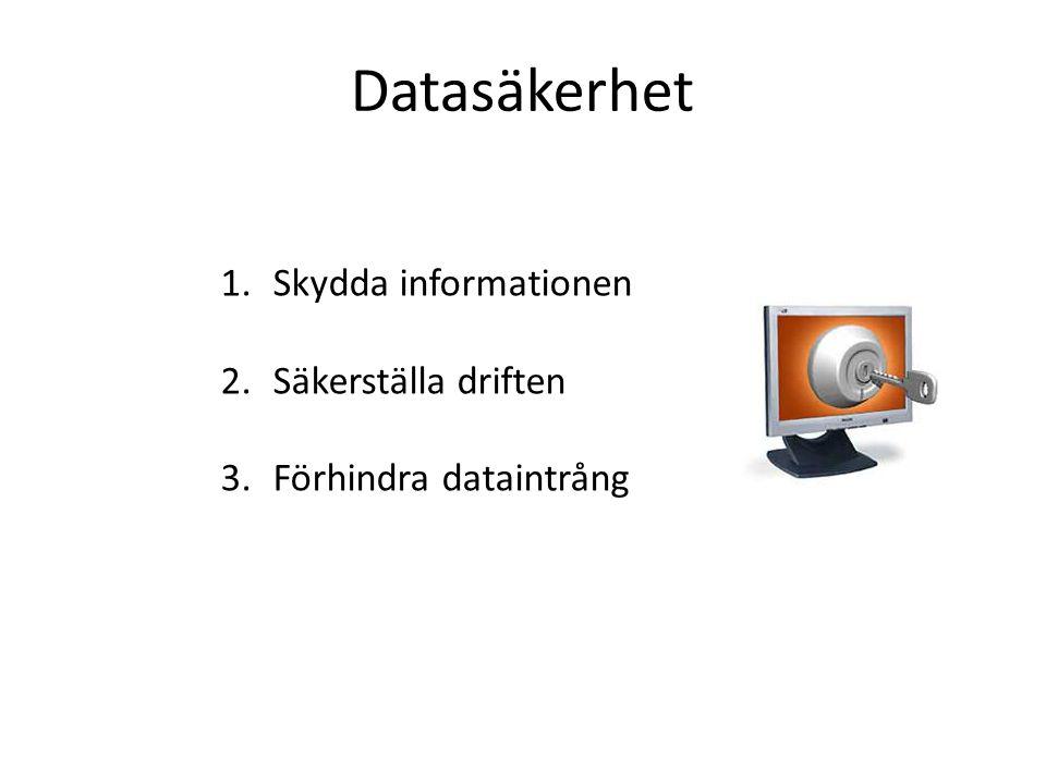 Datasäkerhet Skydda informationen Säkerställa driften