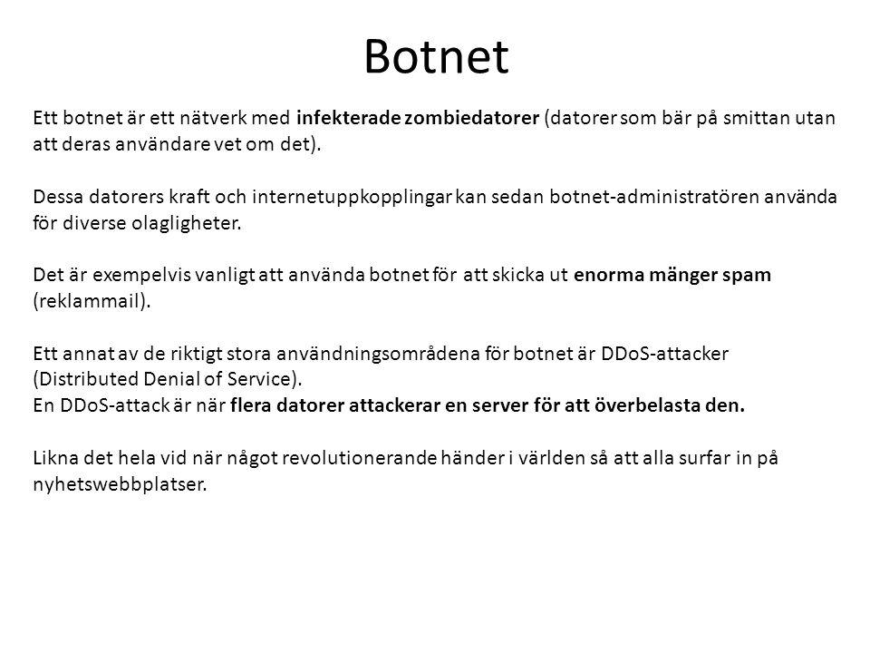 Botnet Ett botnet är ett nätverk med infekterade zombiedatorer (datorer som bär på smittan utan att deras användare vet om det).