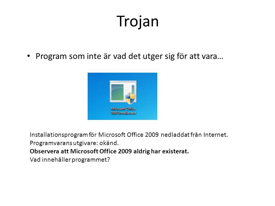 Trojan Program som inte är vad det utger sig för att vara…