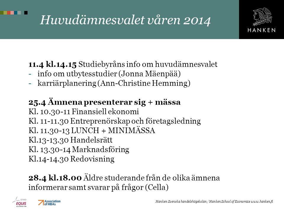 Huvudämnesvalet våren 2014
