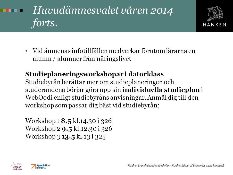 Huvudämnesvalet våren 2014 forts.