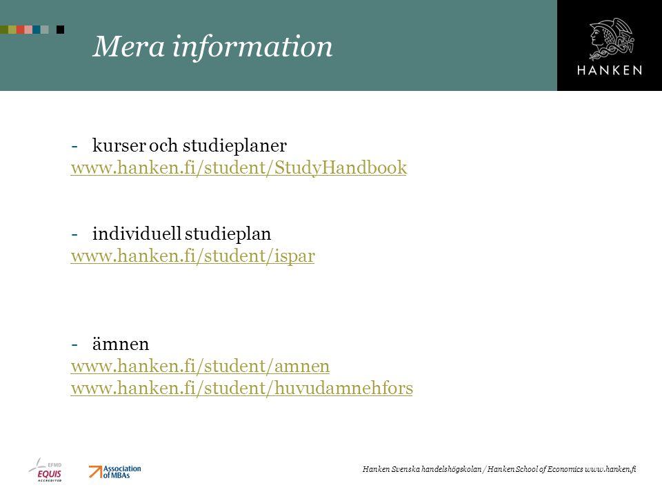 Mera information kurser och studieplaner