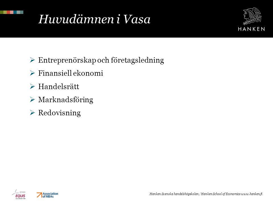 Huvudämnen i Vasa Entreprenörskap och företagsledning