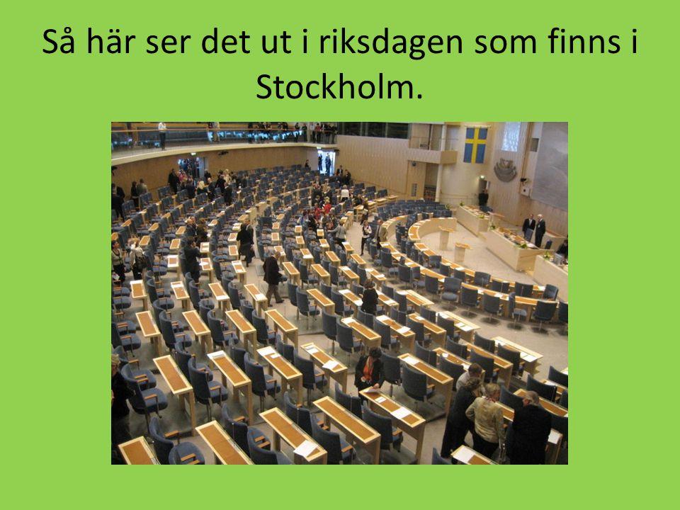 Så här ser det ut i riksdagen som finns i Stockholm.