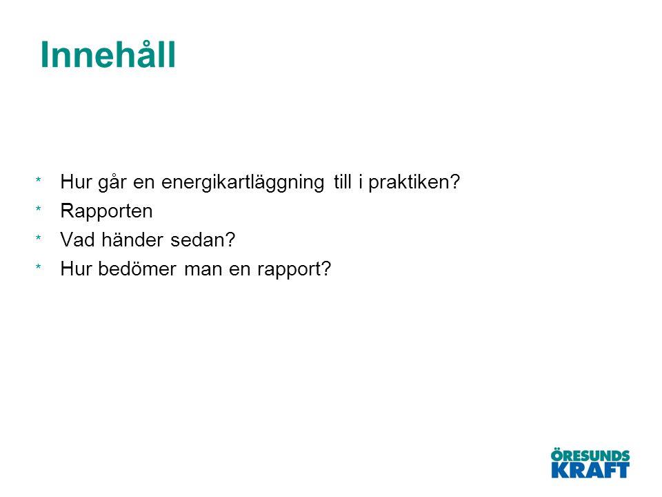 Innehåll Hur går en energikartläggning till i praktiken Rapporten