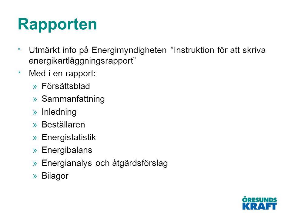 Rapporten Utmärkt info på Energimyndigheten Instruktion för att skriva energikartläggningsrapport