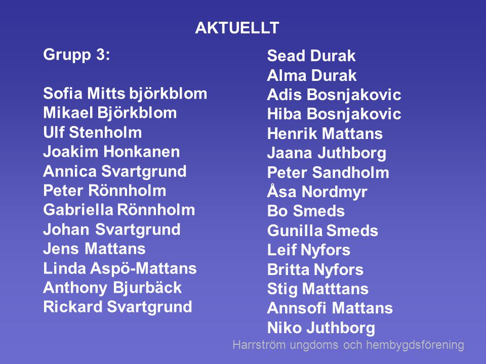 AKTUELLT Grupp 3: Sead Durak Alma Durak Sofia Mitts björkblom