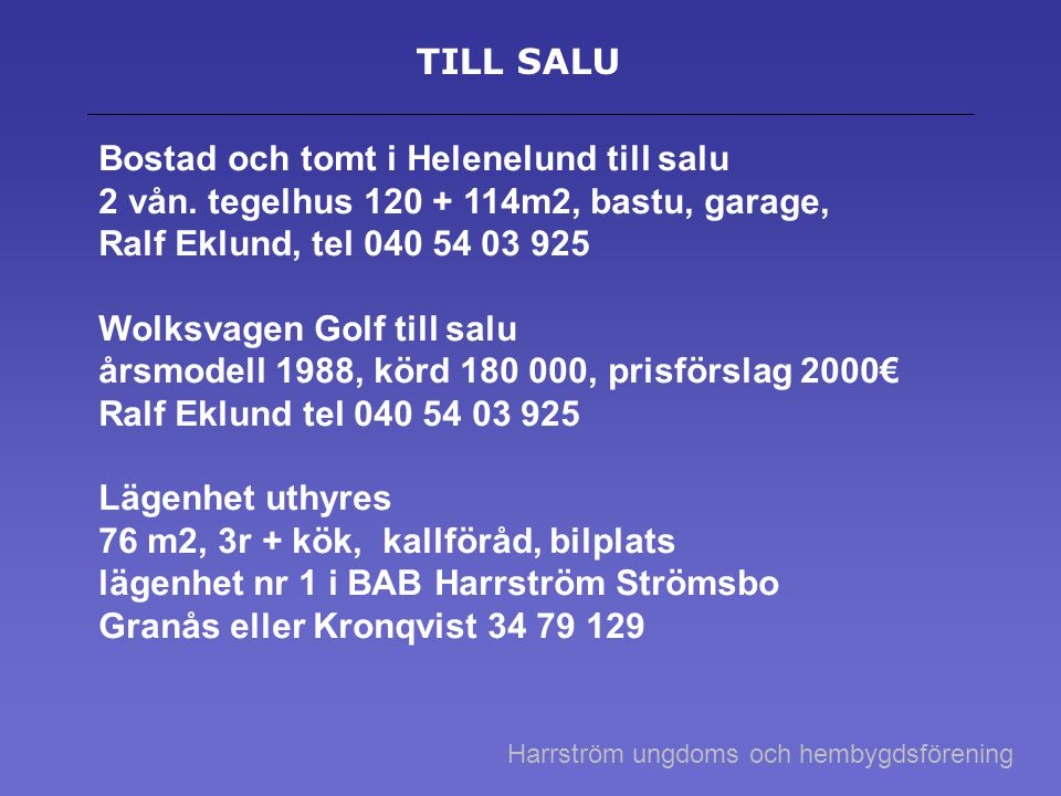 Bostad och tomt i Helenelund till salu