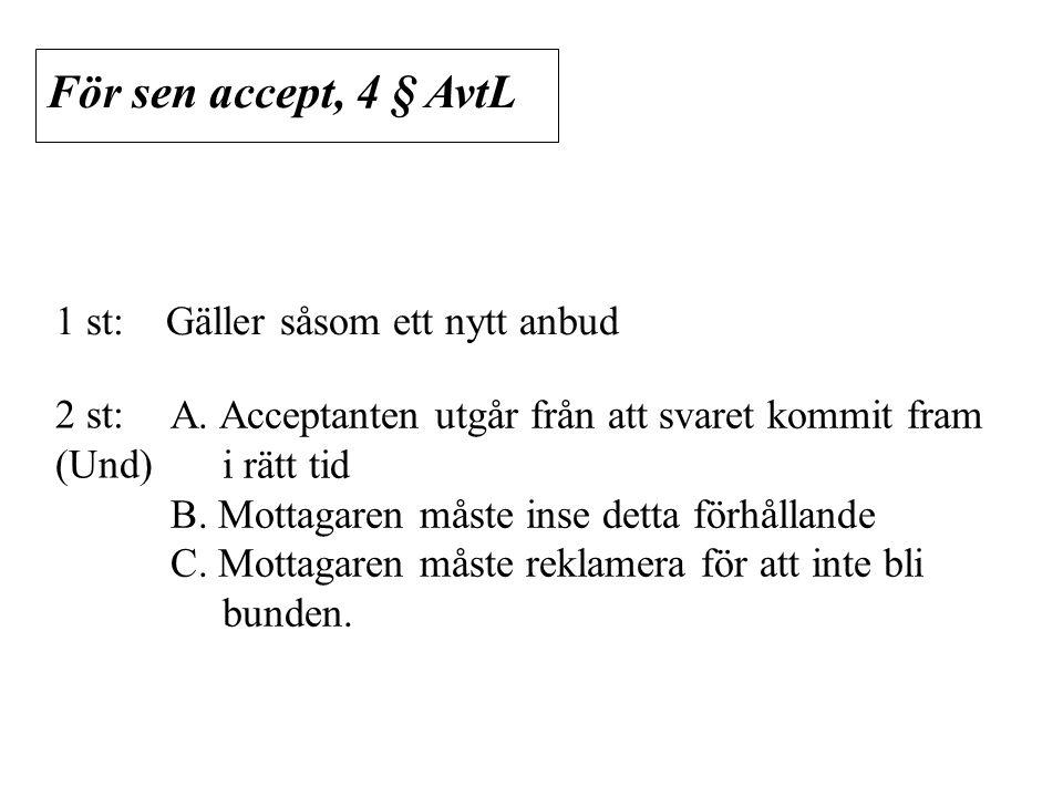 För sen accept, 4 § AvtL 1 st: Gäller såsom ett nytt anbud 2 st: (Und)