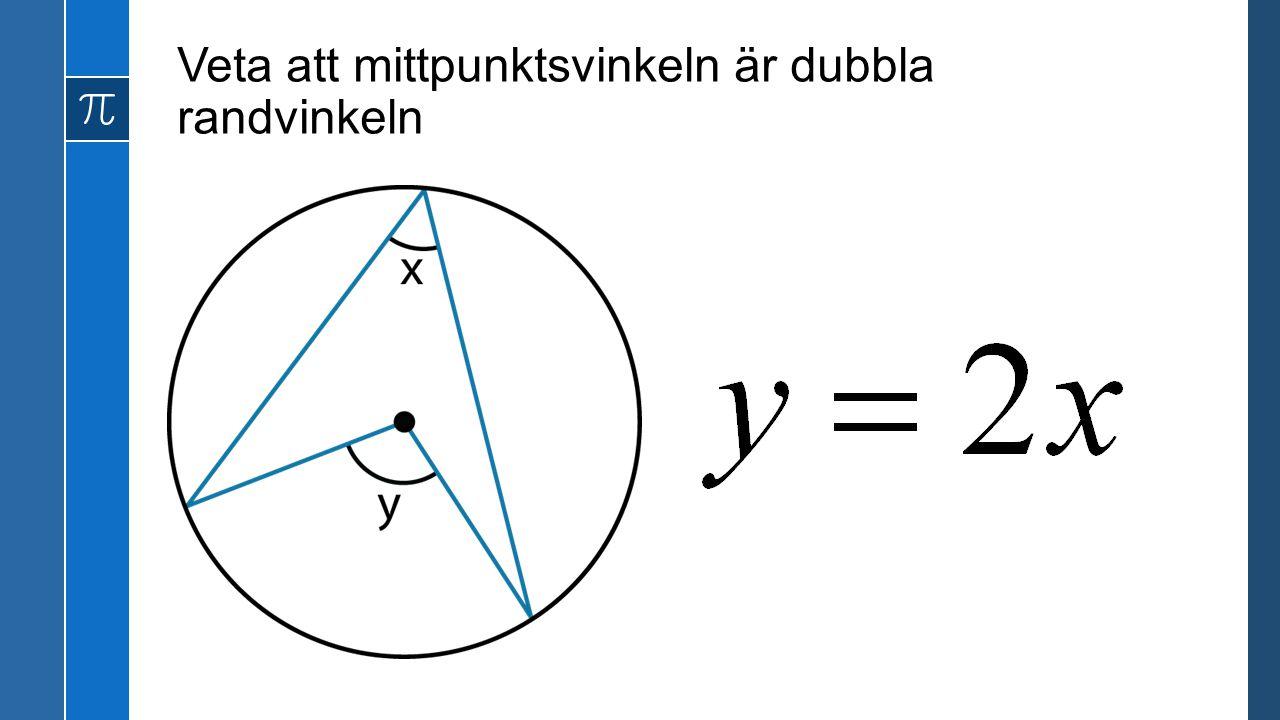 Veta att mittpunktsvinkeln är dubbla randvinkeln