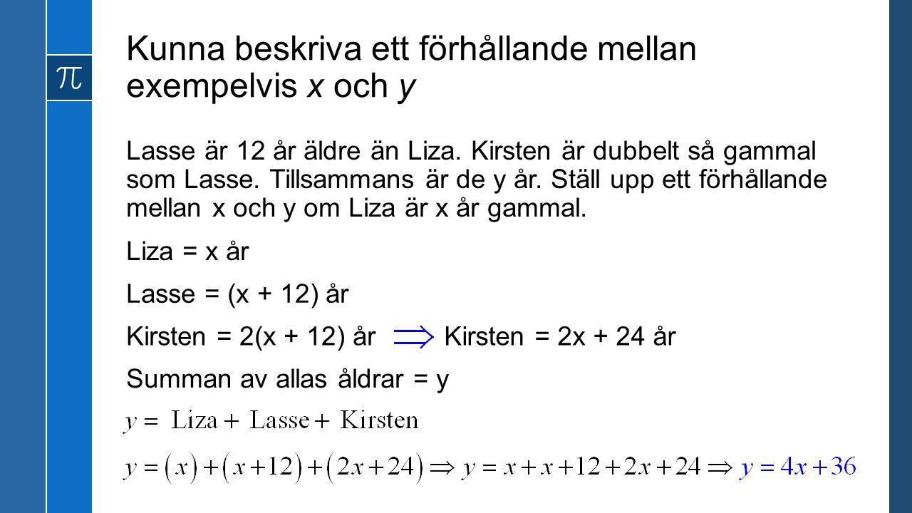 Kunna beskriva ett förhållande mellan exempelvis x och y