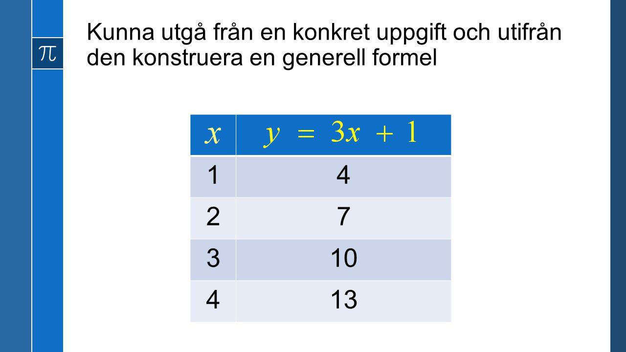 Kunna utgå från en konkret uppgift och utifrån den konstruera en generell formel