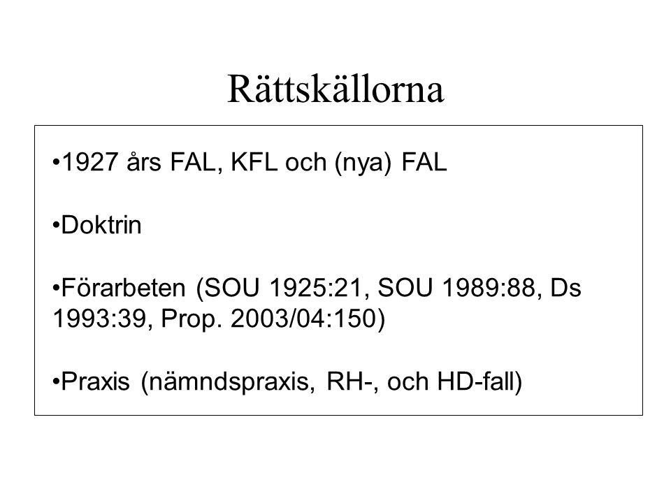 Rättskällorna 1927 års FAL, KFL och (nya) FAL Doktrin
