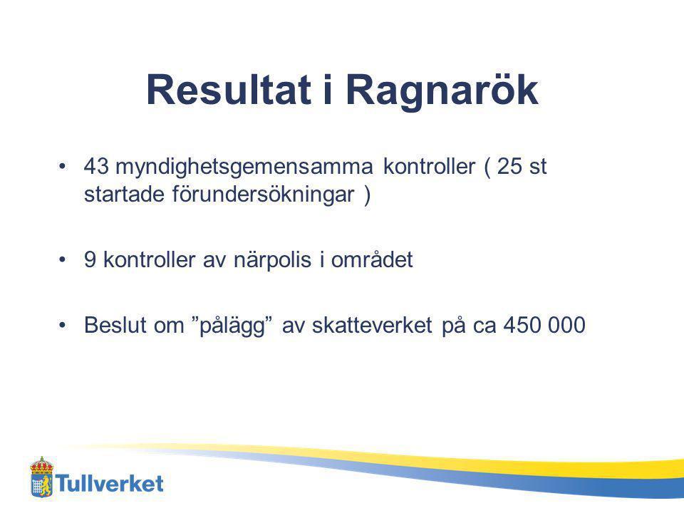 Resultat i Ragnarök 43 myndighetsgemensamma kontroller ( 25 st startade förundersökningar ) 9 kontroller av närpolis i området.