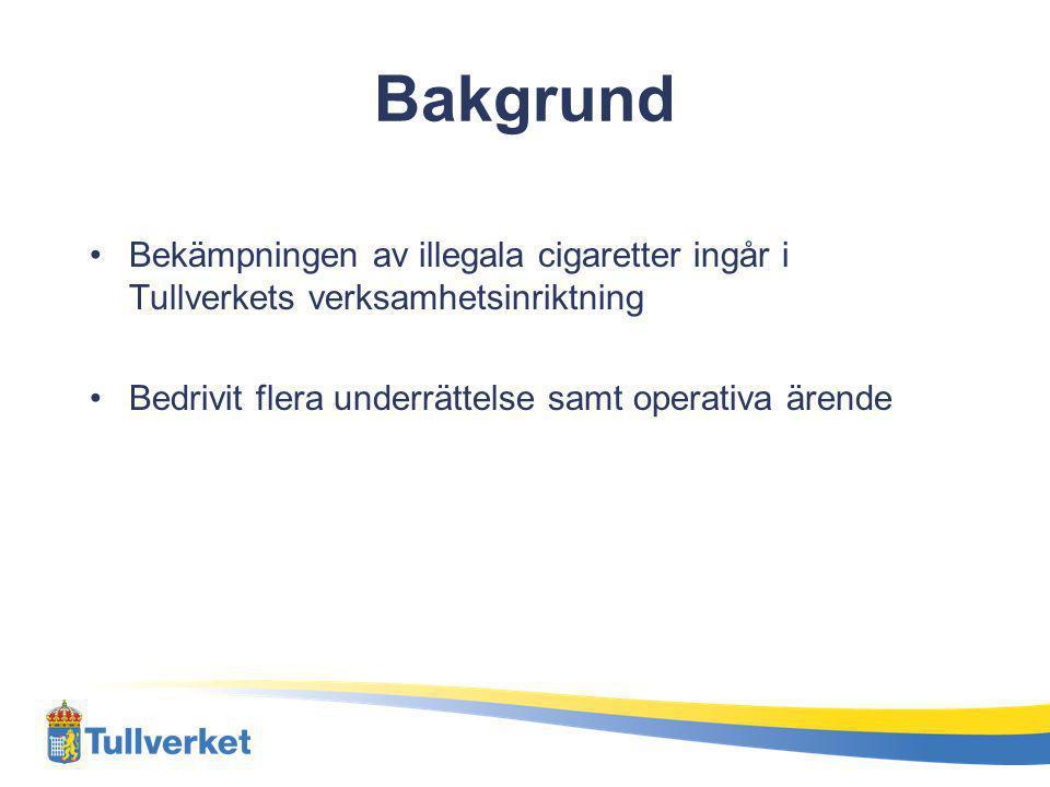 Bakgrund Bekämpningen av illegala cigaretter ingår i Tullverkets verksamhetsinriktning.